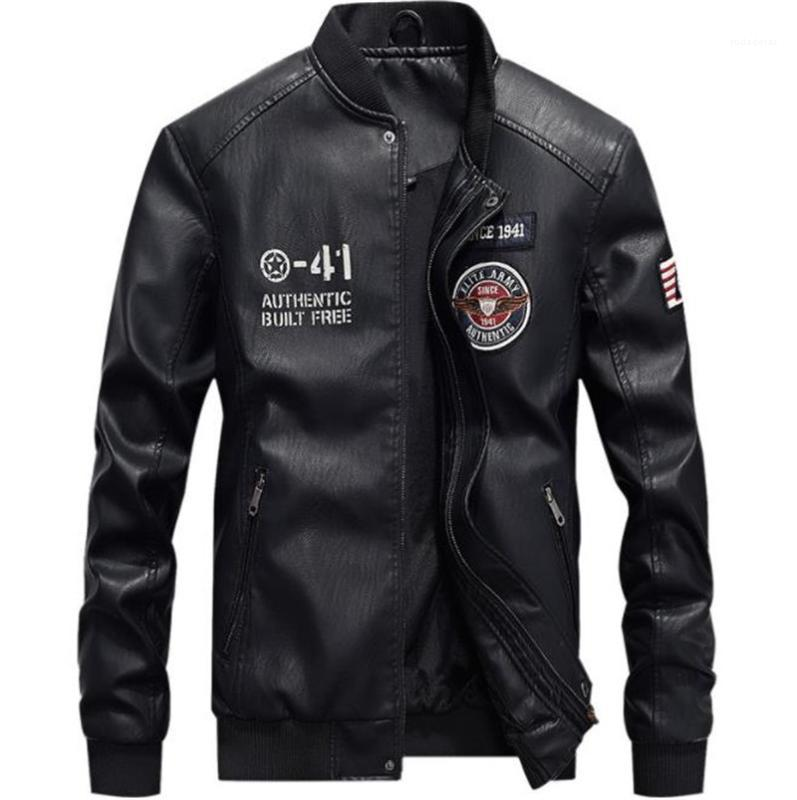 PU Leather Jackets Autumn Stand Collar Long Sleeve Designer Mens Leather Coats Mens Epaulet Printed Coats Mens