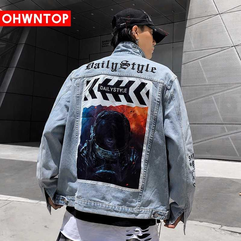 남성 원래의 공백 문자를 인쇄 데님 재킷 2020 힙합 워크 캐주얼 찢어진 고민 펑크 록 청바지 코트 보내다