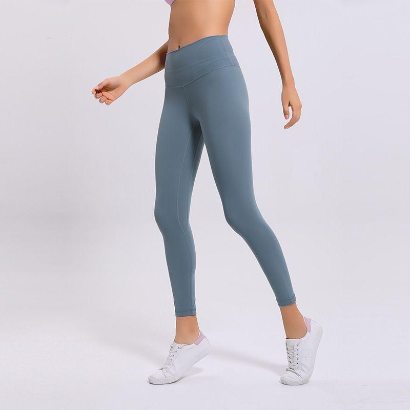 L-27 سروال اليوغا عارية المرأة اللون بنات طويل الصلبة ملابس اللون الرياضة رياضة اللباس ارتفاع الخصر مطاطا للياقة البدنية سيدة عموما الجوارب