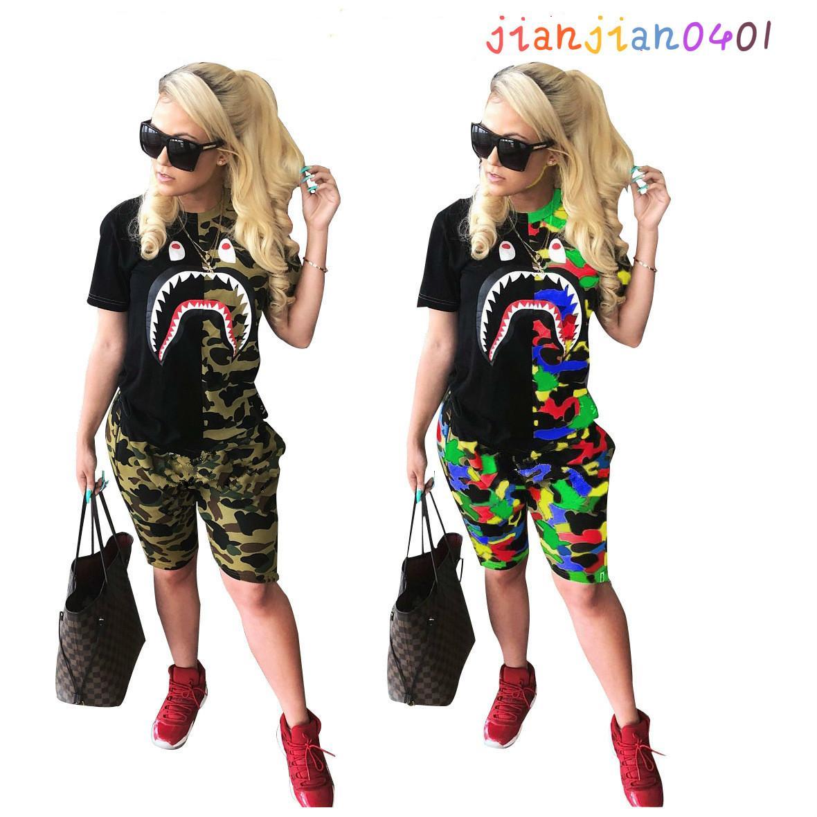 Vestito 2020 delle donne europee e americane di tendenza della moda di New manica corta colore misto Stampa su due pezzi di abbigliamento femminile (N9107)