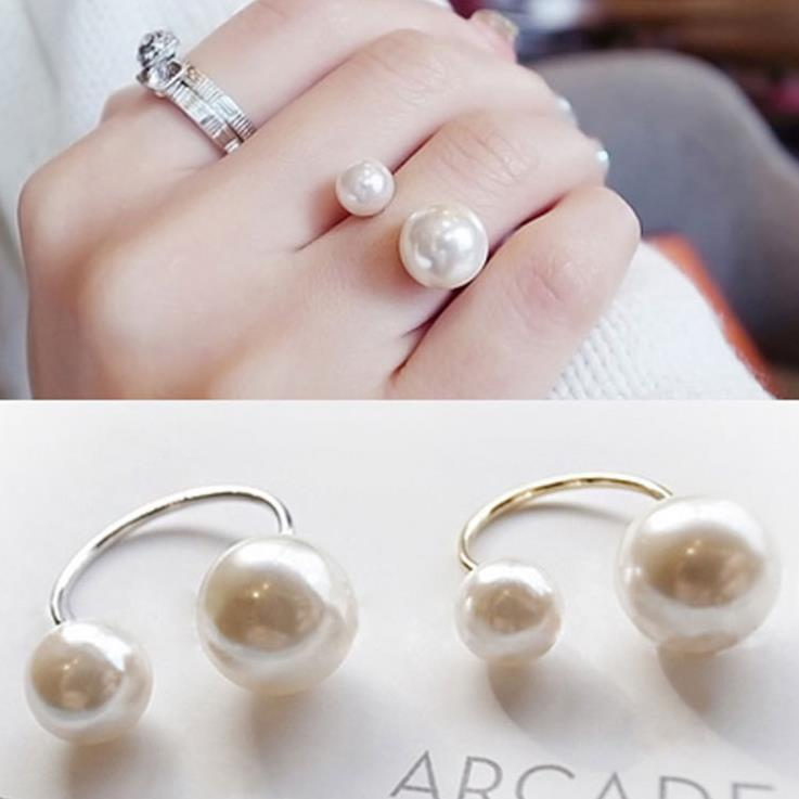 European and American luxury Adjustable Pearl ring 925 Silver Elegant Double Pearl ring for women girls