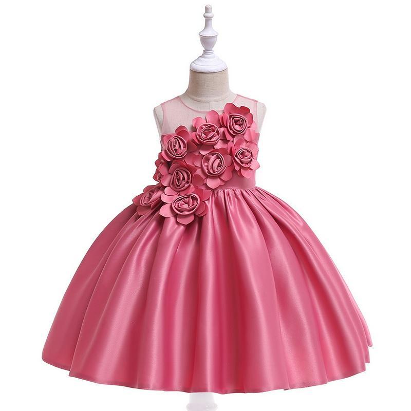 Mezclas de algodón vestidos de niña con flores de satén 3D adjunta Tutu falda larga vestido de bola formal del partido de boda