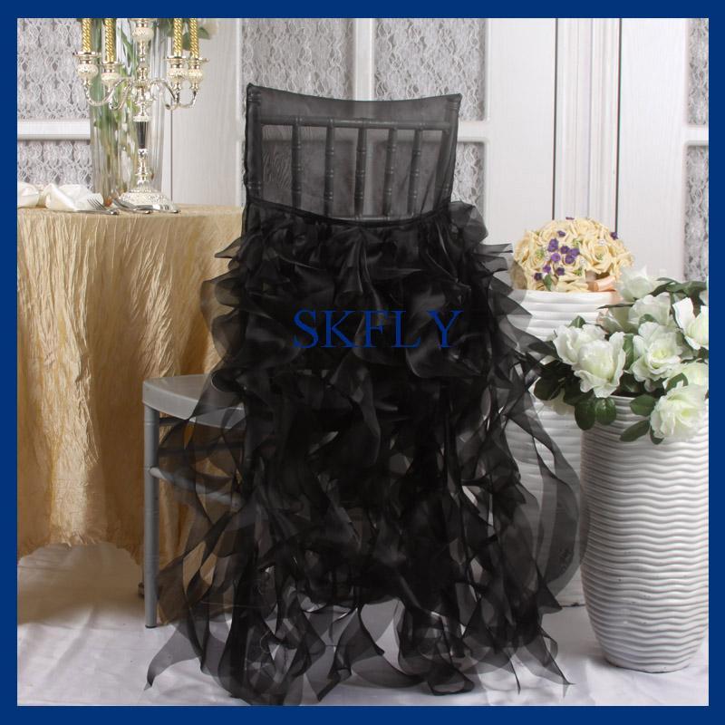 CH007B 많은 색상을 사용할 수 무료 배송 SKFLY 아름다운 결혼 관습은 곱슬 버드 블랙 오간자 의자 커버를 주름 장식 만든