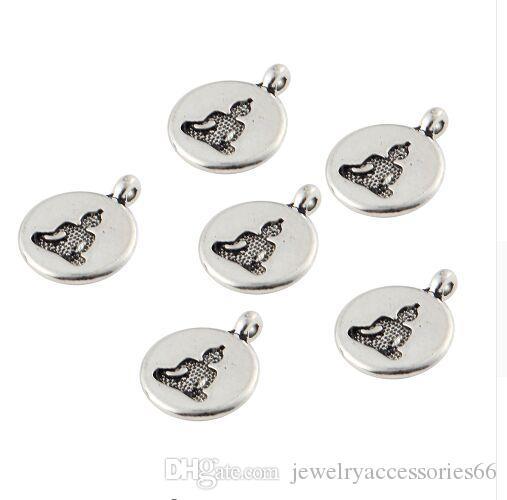 100 قطع الفضة التبتية جولة شكل بوذا تمثال الصلاة اليوغا سحر قلادة للنساء الرجال diy قلادة سوار مجوهرات هدايا 19x15 ملليمتر