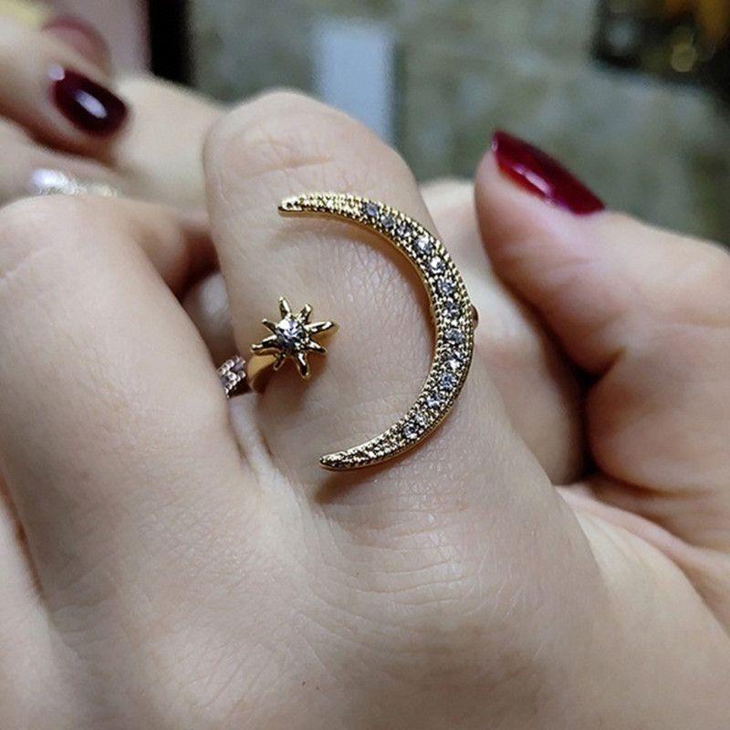 Nova Moda Banda Anéis 925 Sterling Silver Jewerly Anel de Abertura Ajustável Para As Mulheres Rose Gold Silver Moon Star Diamante Atacado
