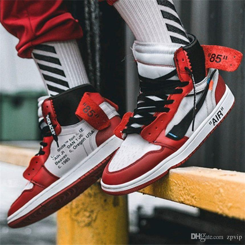 The Ten Nike Air Jordan 1 Off White AJ1 LV Virgil Abloh 85 OW Brand Chicago Ceeze Basketball Shoes Trainers Blue Gray Designers Women Men Sneaker Sports Running Shoes
