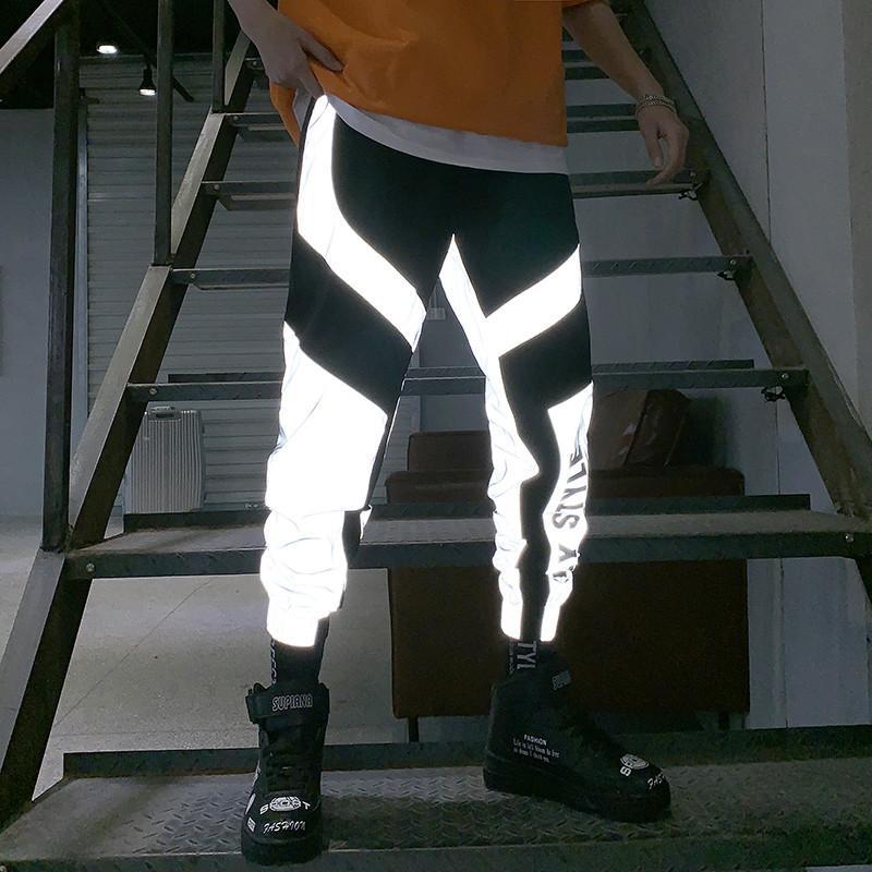 2020 Yeni Yaz Erkekler Kadınlar Sweatpant Flaş Yansıtıcı pantolon joggers Kalça Hop Dans Show Parti Gece Jogger Şalvar Songsanding