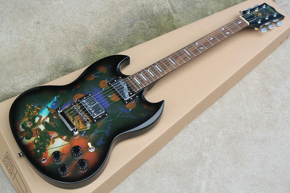 Fabrika Özel Siyah Elektro Gitar ile Özel Desen Beden, Gülağacı Klavye, Beyaz İnci Fret Kakma, özelleştirilebilir