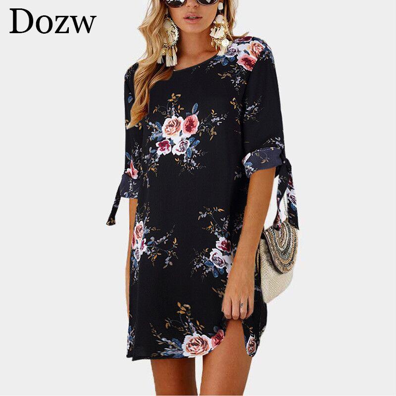 2019 여성 여름 드레스 보헤미안 스타일 꽃 프린트 쉬폰 비치 원피스 · 튜닉 sundress에 느슨한 미니 파티 Vestidos 플러스 사이즈 5XL