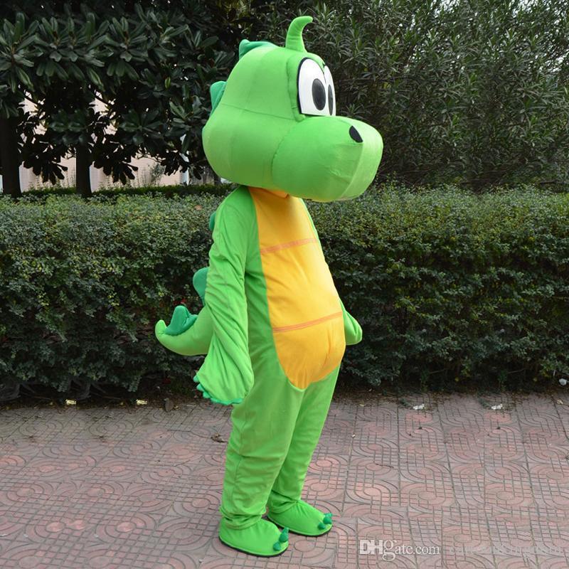 2020 yepyeni sıcak Yeşil ejderha dinozor Maskot Kostüm Karikatür Giyim Pembe Suit Yetişkin Boyut Fantezi Elbise Parti Fabrika Doğrudan Ücretsiz Kargo