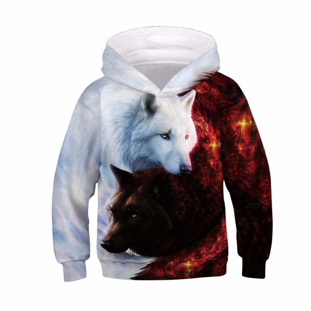 새로운 2019 가을 소녀 후드 늑대 인쇄 3D 소년 스웨터 아동 긴팔 셔츠 소년 소녀 키즈 까마귀 스웨터