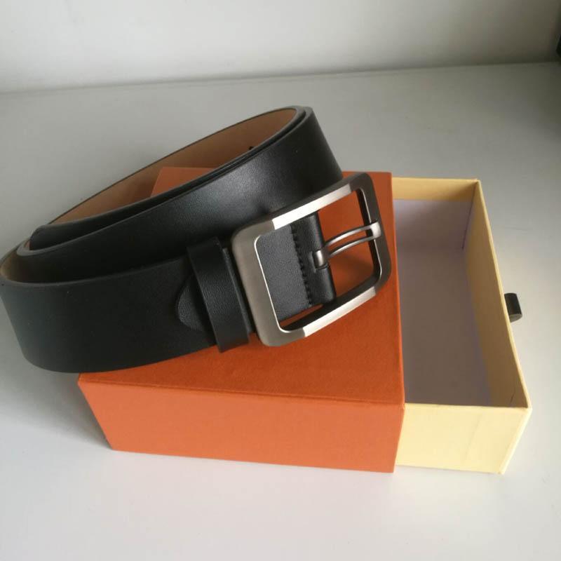 Mode en cuir véritable Homme Ceinture causales de haute qualité lisse grande boucle de ceinture Femme Ceinture pour les femmes avec la boîte