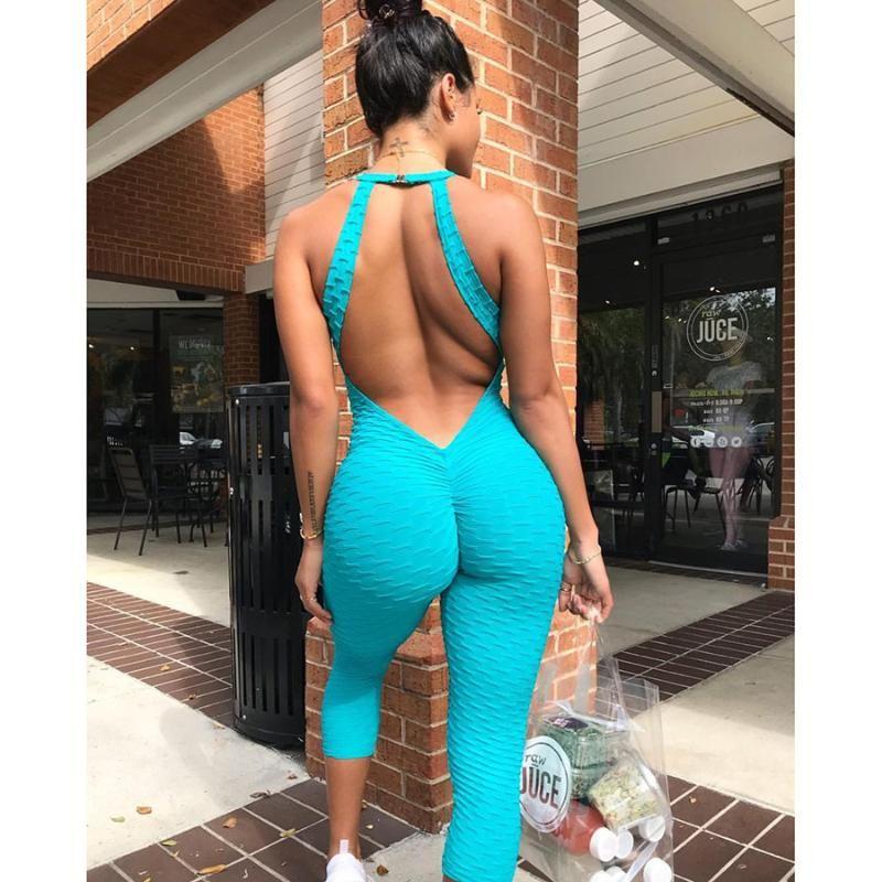 Kadın Açık Geri Yoga Seti Yüksek Elastik Gym Fitness Spor Tulum Kırpılmış Sweatpants Sıkı Bandaj Gym Bodysuit Push Up