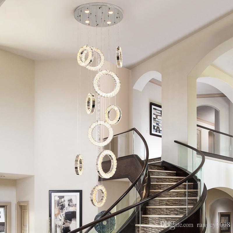 Nordic LED lustres de cristal anel de longa Hanging Lamp Individual Duplex Villa Spiral Staircase Luzes Sala Decor Luminárias