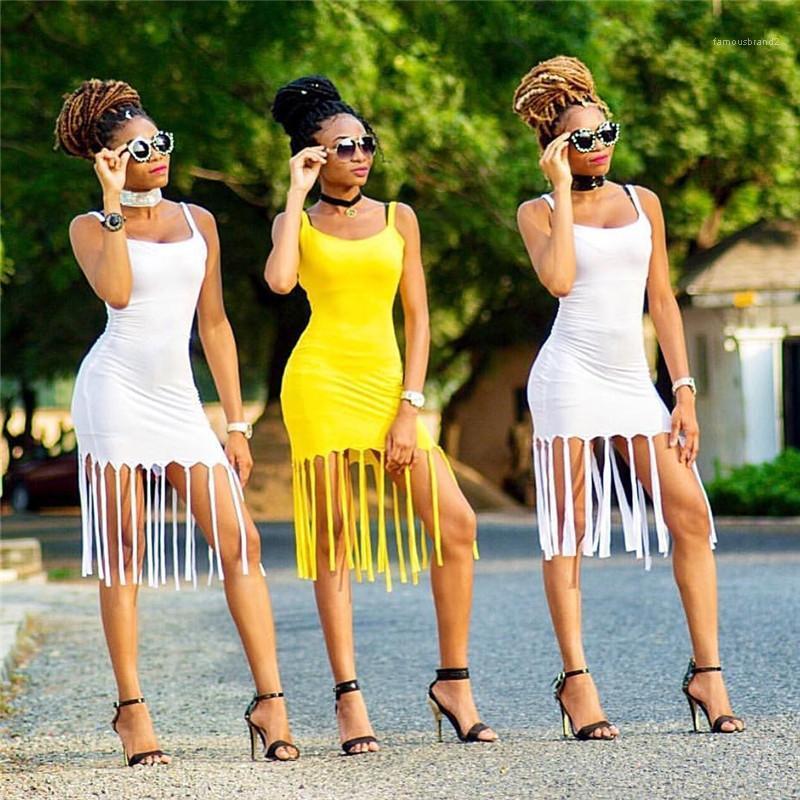 Neck Pull Party Dress Famale Designer Vêtements Femmes Sexy Tassel Boîte de nuit Robe couleur unie Sling Skinny U