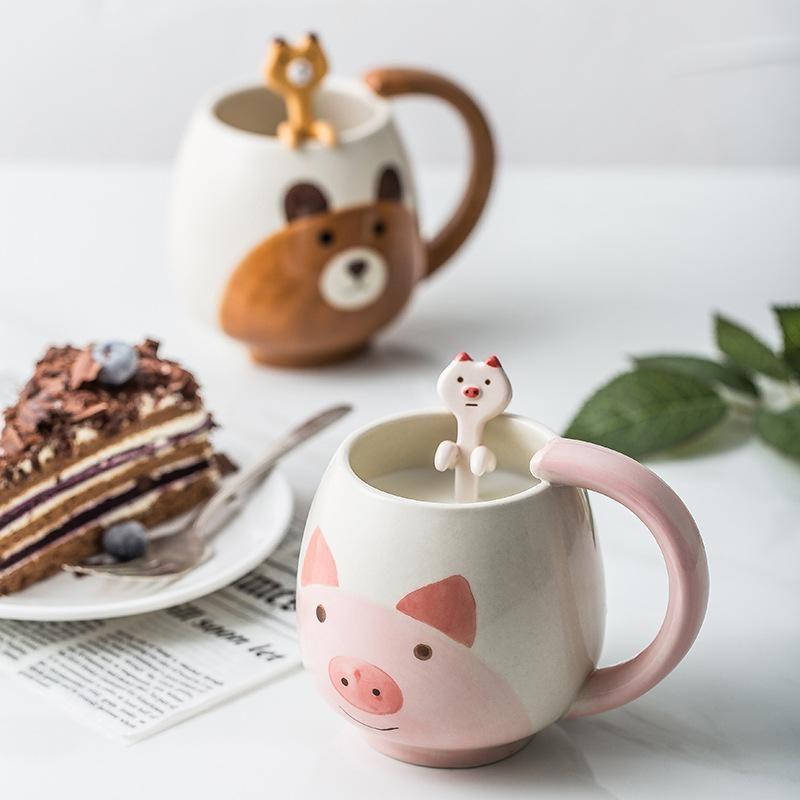 Fumetto creativo di ceramica della tazza di acqua per il Commercio Estero Segna tazze Panda cuore C generi alimentari Zakka 10 5TY A1