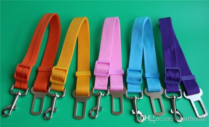 Cinturón de seguridad del coche del perro del gato del arnés del cinturón de seguridad ajustable cachorro de mascota del perrito del perrito del vehículo correa de plomo 17 colores 100pcs