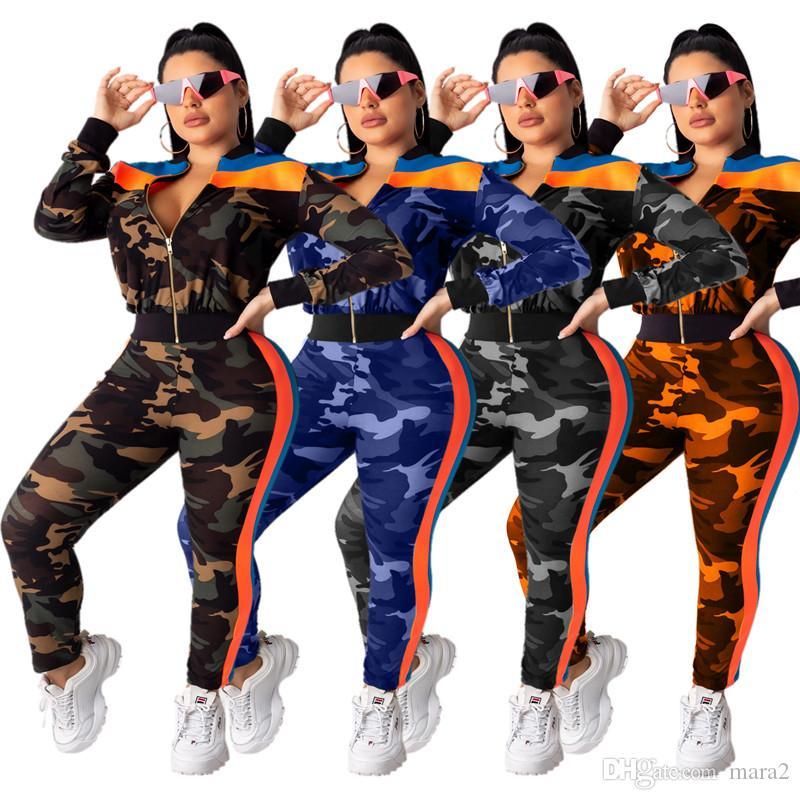 Women camouflage 2 piece set tracksuit sportswear Cardigan pants sweatsuit jacket leggings outfits outwear coat bodysuits fall winter 1485