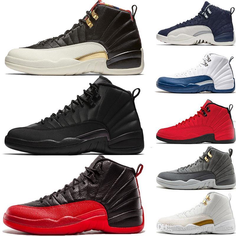 Nike Air Jordan Retro 12s Winterized WNTR jeu de la grippe chaussures de basket-ball pour hommes 12 XII séries OVO blanc noir laine laiter marine marque BRAND sneakers