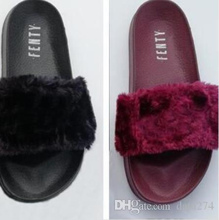 pretty nice 8ce21 00db3 Leadcat Fenty Rihanna Faux Fur Slippers Women Girls Sandals Fashion Scuffs  Black Pink Red Grey Blue Slides High Quality With Girls Boots Wedges Shoes  ...