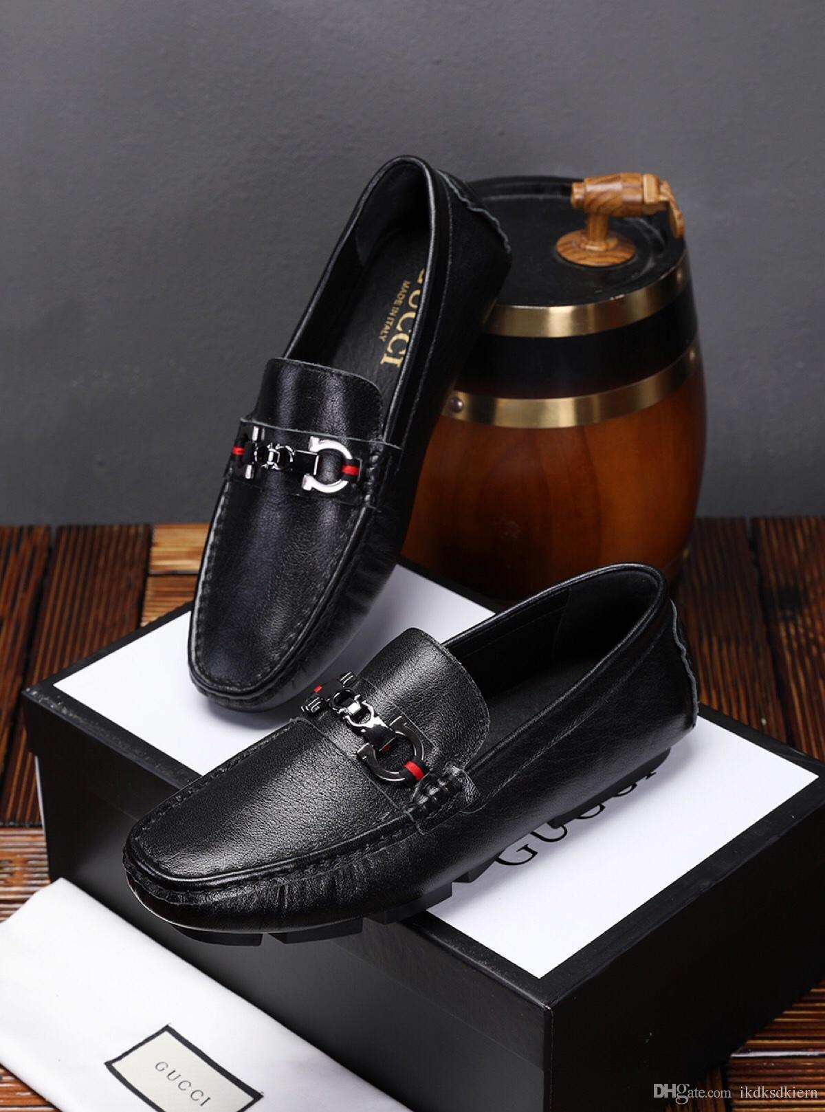 2019x primavera novos homens ervilhas sapatos, couro preguiçoso sapatos casuais, sapatos de negócios selvagens, caixa original embalagem: 38-44