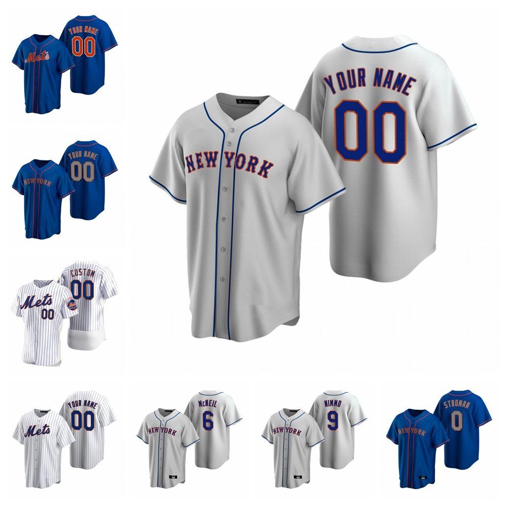 2020 Marcus Stroman baseball maglie Jeff McNeil Steven Matz Jed Lowrie Justin Wilson Amed Rosario Brandon Nimmo Custom blu cucita