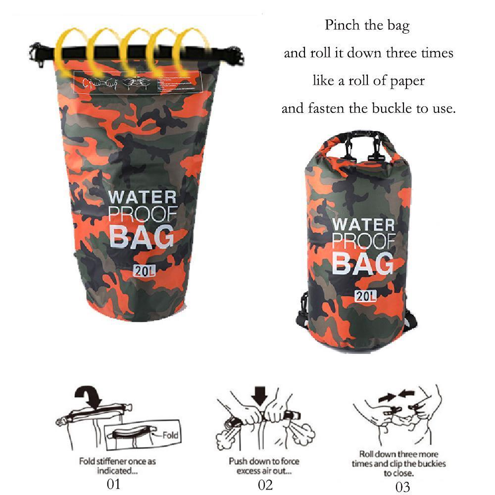2L 5L 10L 20L Schwimmen Taschen Wasserdichte Ultraaußensporttasche Tarnung orange Tauchen Wasser-Beweis-Container Sporttasche