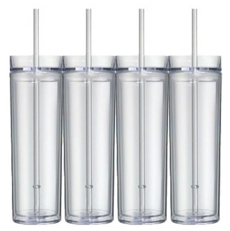 16oz Skinny Tumbler With Lid Straw Acrylic Blank Slim Cup Tall Coffee Mug Plastic Water Bottle 6 colors MMA2880-A1