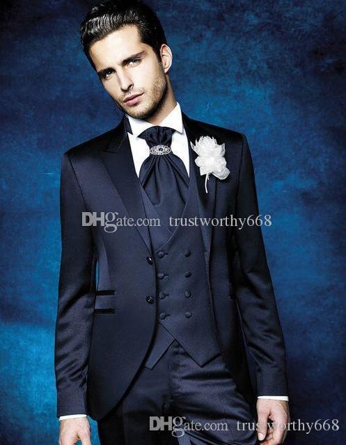 Новое поступление две кнопки Грумсмены пик лацкан жених смокинги мужские костюмы свадьба / выпускной бестселлер блейзер (куртка+брюки + жилет + галстук) AA32