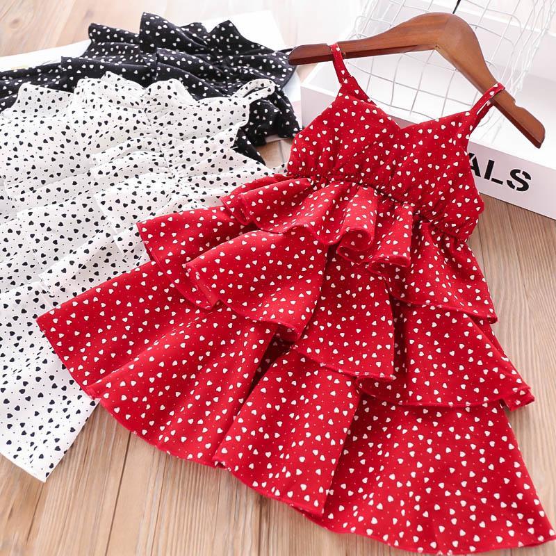 2019 new kids summer clothes girls dresses dots Tiered Princess Dresses girls Beach Dresses kids designer clothes girls princess dress A5079