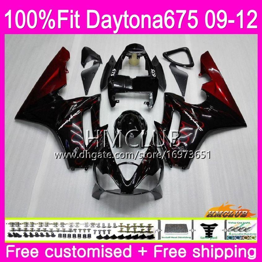 Injection For Triumph Daytona 675 09 10 11 12 Bodywork Red flames Sale 44HM.3 Daytona-675 Daytona675 Daytona 675 2009 2010 2011 2012 Fairing