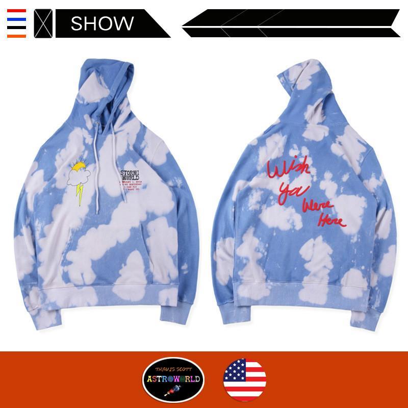 Designer À Capuche TRAVIS SCOTT ASTROWORLD cravate teinture astronaute High Street marée Casual Sweat À Manches Longues De Mode Pulls Streetwear