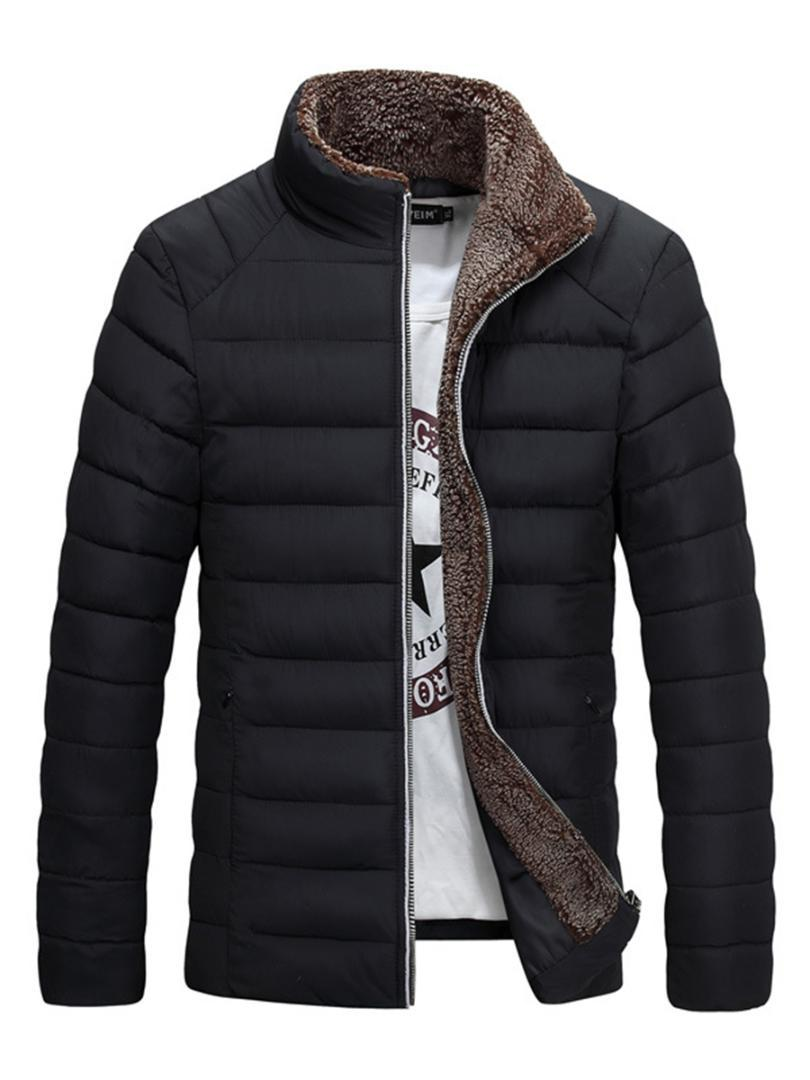 Men Down Jacket Winter Plain Black Casual Stand Collar Thicken Warmness Cotton Clothes Fleece Zipper Fashion Man Parka Overcoat
