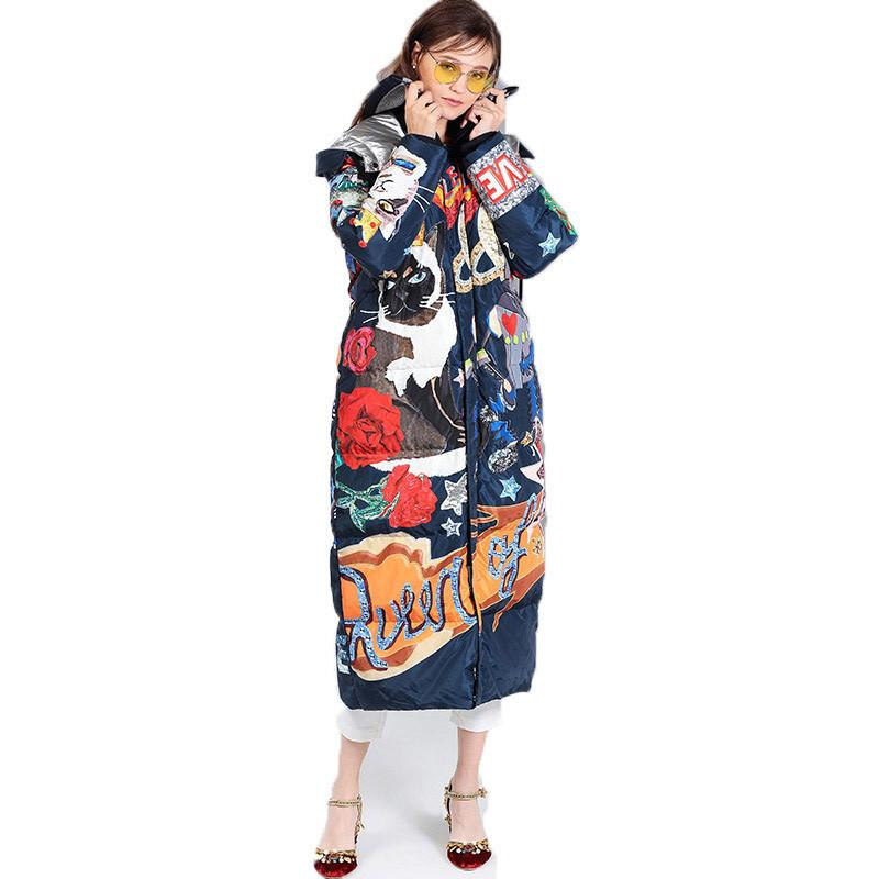 2019 New Women Winter Long Thick Duck Down Jacket Coat Femme Cartoon Cat Print Harajuku Feather Puffer Jacket Down Parka W58