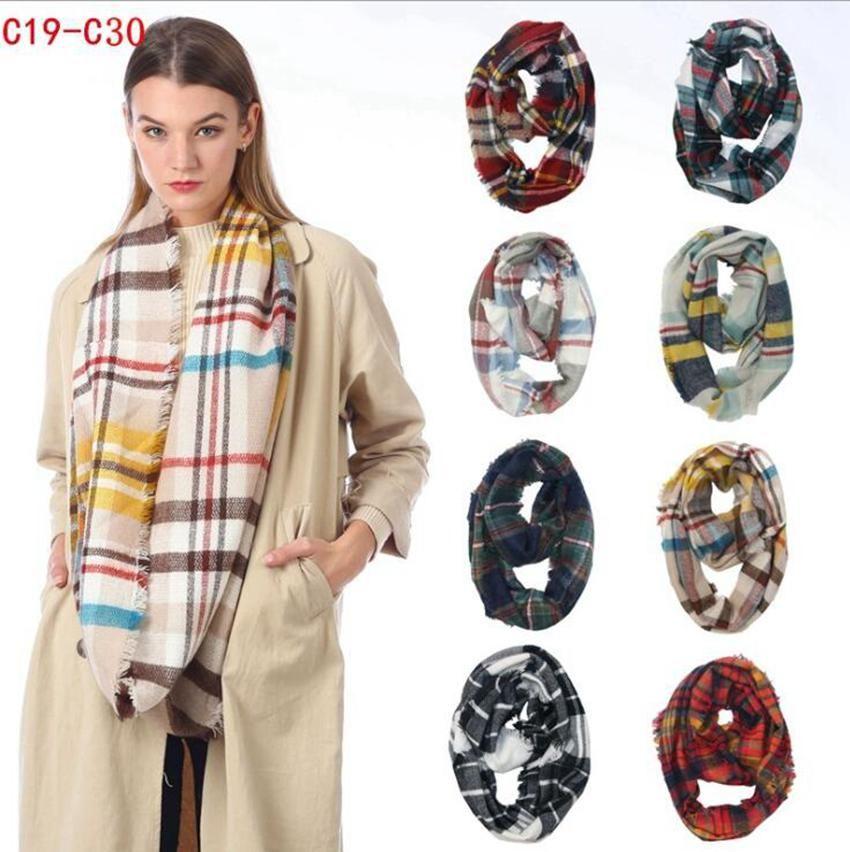 Plaid Ring Schal 12 Farben Unendlichkeit Schal-Verpackungs-Loop-Schal Knitting Multifunktions-Kopftuch Frauen Neckchief LJJO7150