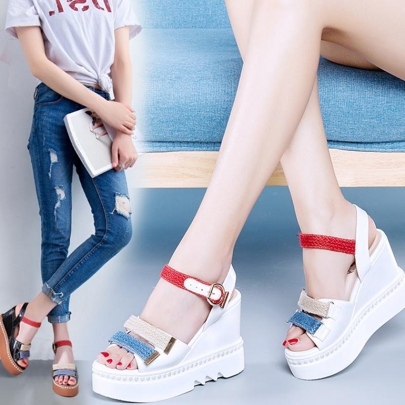 Crystal2019 sandales compensées femme épaisse mode de mode décontractée haute avec talon épais peep toe sandales femme avec rivets