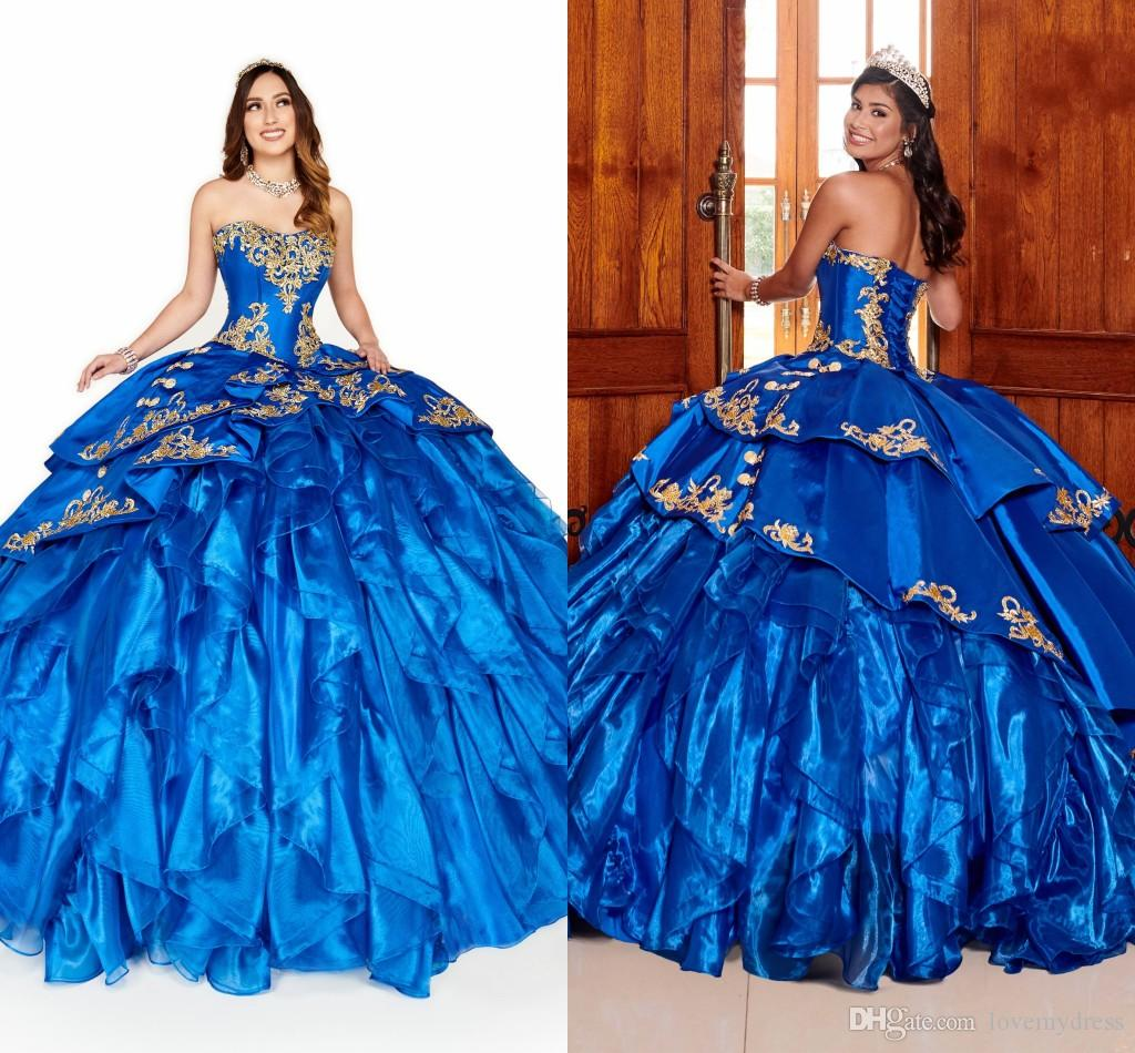 2020 Puffy Royal Blue And Gold Embroidery Organza Ruffle ...