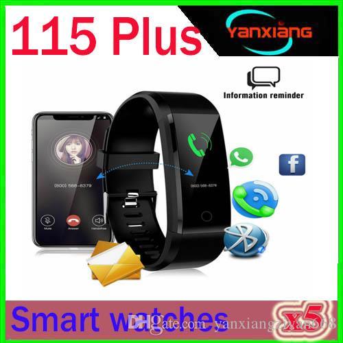 115Plus Smart Fitness Bransoletka Tracker kolorowy ekran ciśnienie krwi Tętno Monitor Kobiety Zegarek dla iPhone Samsung Xiaomi 5szt ZY-SB-3