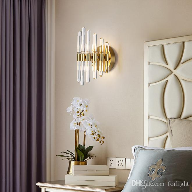 Contemporary luxury copper sconce wall lights crystal led wall lamps modern wall sconce lighting for TV background bedroom bedside hallway
