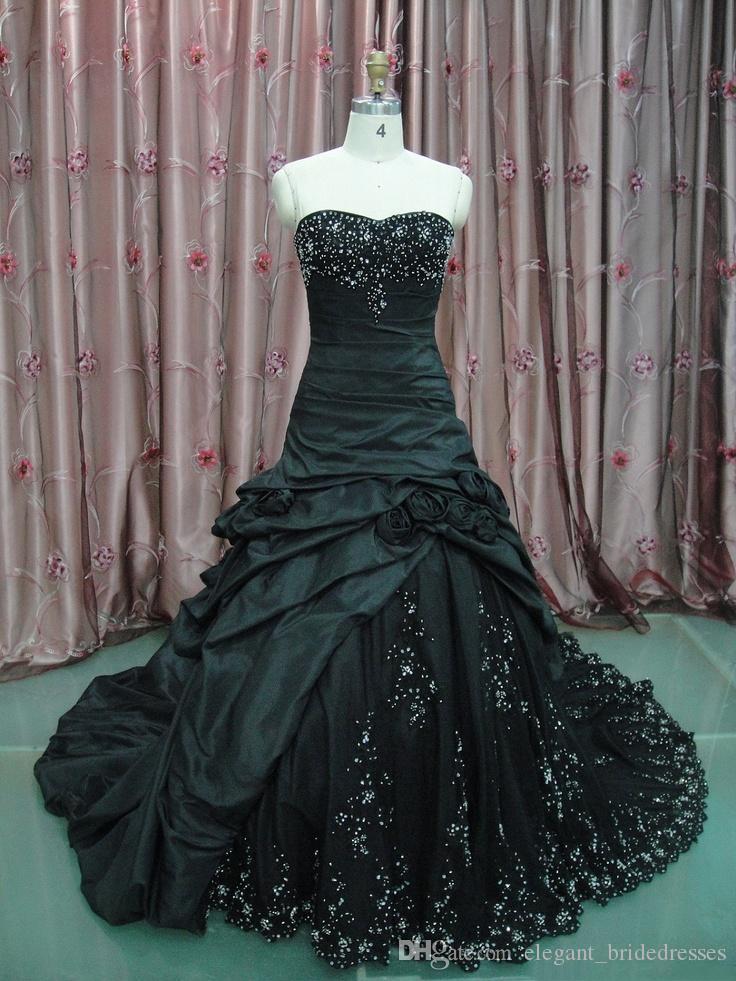 Vintage Taffeta Noir Trompette De Mariage Robes De Mariée Sweetheart Lacee-up Robe de mariée gothique non blanche faite sur mesure