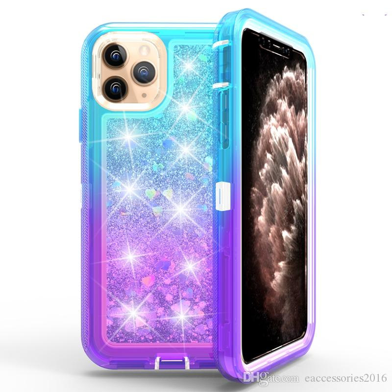 Newest Robot Gradient Glitter Phone Case for iPhone SE2 SE 2020 11 Pro Max XR XS Max 7/8/6S Plus Luxury Clear Back Cover Rugged Defender