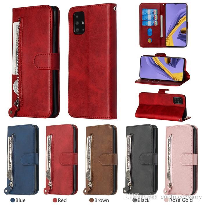 Zipper Retro-Mappen-Leder-Kasten für Iphone 12 Mini Pro Samsung S20 FE A42 5G A51 A71 M31S HINWEIS 20 Ultra Classic Kuh Schlag-Standplatz-Kartenabdeckung