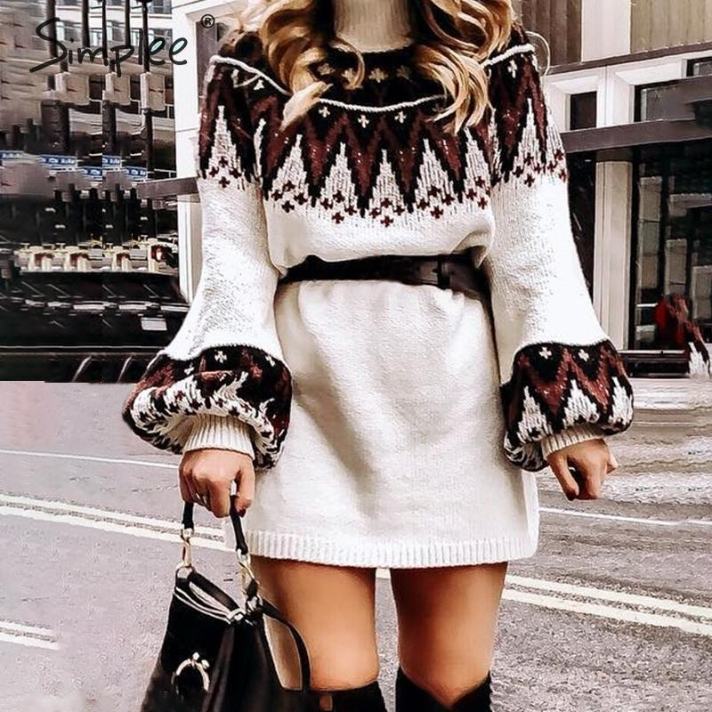 Simplee Geometric print knitted dress women Casual turtle neck pullover sweater dress female Autumn winter retro white vestidos MX200319