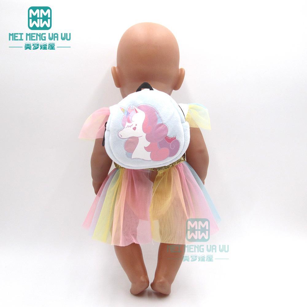 bebek için aksesuarlar 43 cm oyuncak yeni doğmuş bebek bebek moda Karikatür peluş sırt çantası sığacak