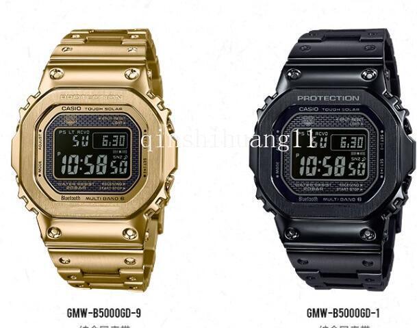 Novo clássico luxo g mens homens shock waterproof o relógio dos esportes da forma relojG-SHOCK luz mens quartzo cinéticos assistir GMW-B5000GDb622 #