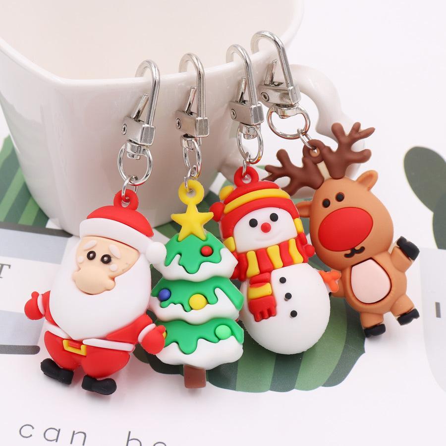 Santa Claus Key Ring Cartoon Keychain PVC Soft Keychain Christmas Key Pendant