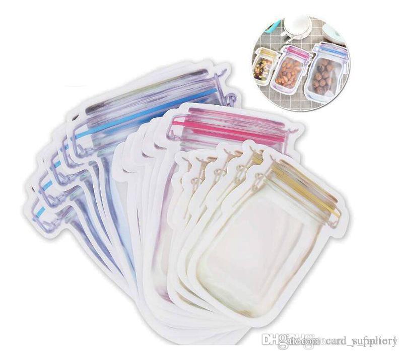 안전 지퍼 저장 가방 플라스틱 메이슨 항아리 지퍼 기밀 봉지 Resuable 친환경 스낵 가방