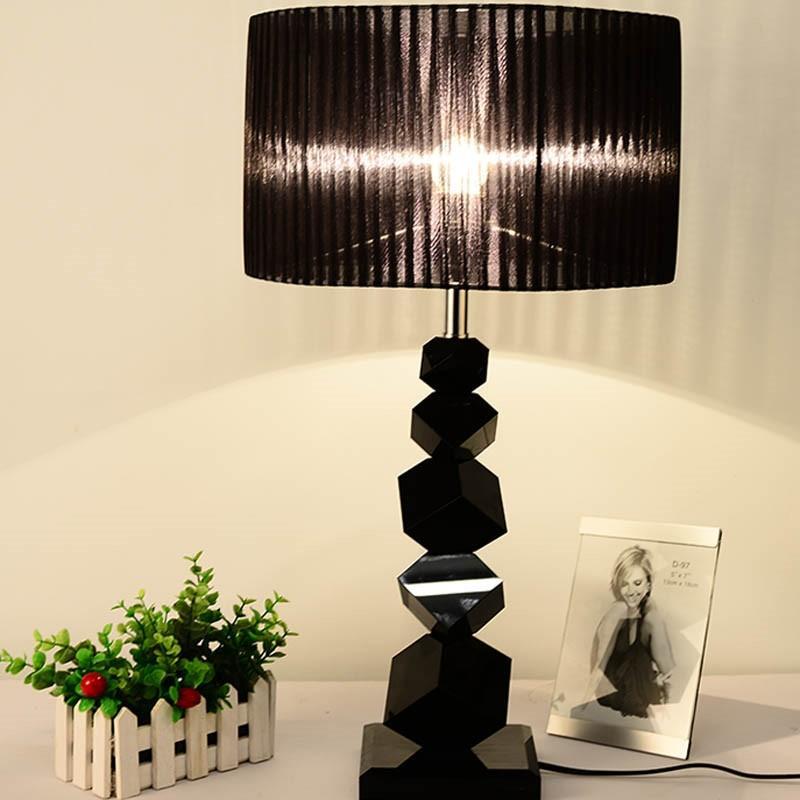 Siyah kristal masa, modern lambalar kişilik kristal yatak masa lambası yaratıcı basit tablo yatak odası e27 için lambaları