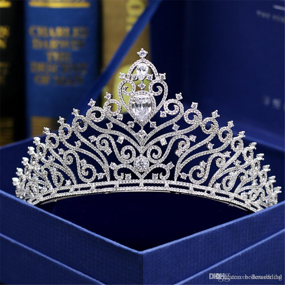 Tiaras nupcial Coronas Con Zirconia Joyería nupcial Noche de la fiesta de fin de año Rendimiento Concurso Cristal Tiaras de boda Accesorios # DB-JS012