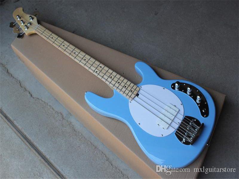 Büyük indirim! 4-dize gökyüzü mavi elektrik bas gitar akçaağaç klavye, beyaz pickguard, krom donanımlar, özelleştirilmiş teklif